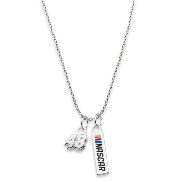 Jimmie Johnson #48 Sterling Silver Necklace with Two Charms