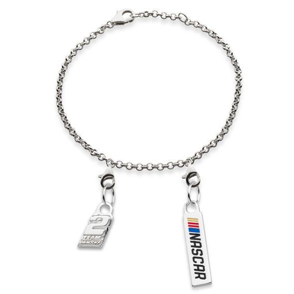 Brad Keselowski #2 Sterling Silver Anklet with Two Charms