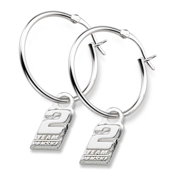 Brad Keselowski Sterling Silver Hoop Earrings with #2 Charm