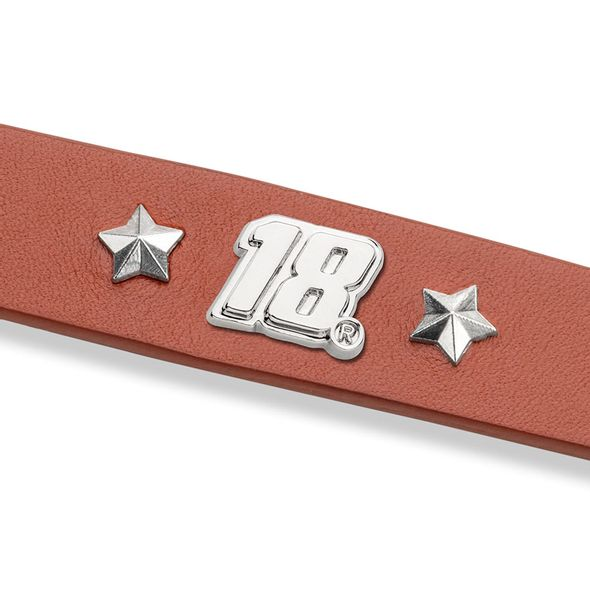 Kyle Busch Leather Bracelet with #18 Rivet - Image 2