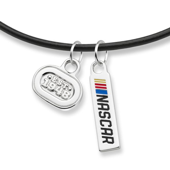 NASCAR Leather Necklace with Two Charms - Image 2