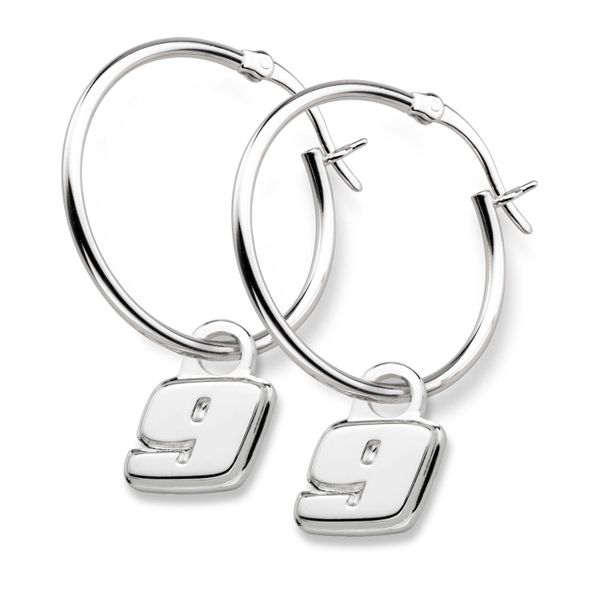 Chase Elliott Sterling Silver Hoop Earrings with #9 Charm
