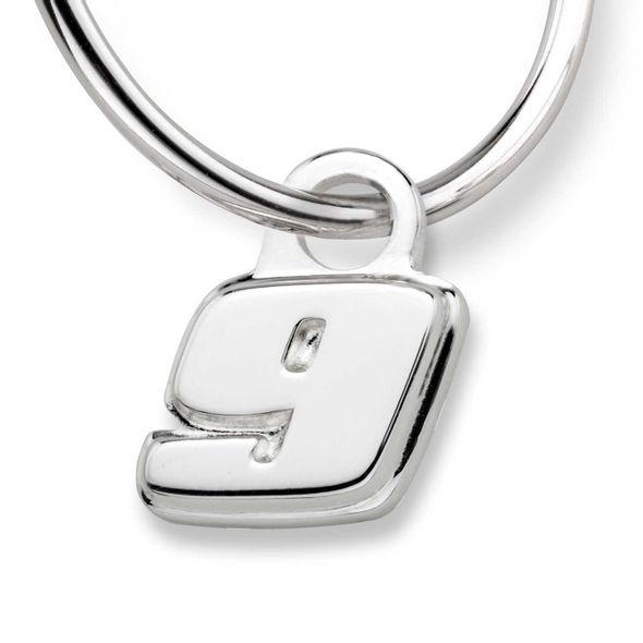 Chase Elliott Sterling Silver Hoop Earrings with #9 Charm - Image 2