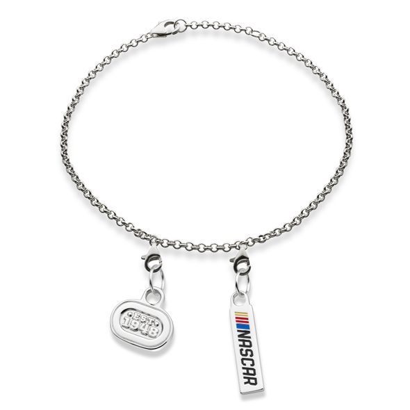 NASCAR Sterling Silver Bracelet with Two Charms