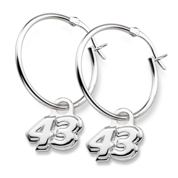 Bubba Wallace Sterling Silver Hoop Earrings with #43 Charm