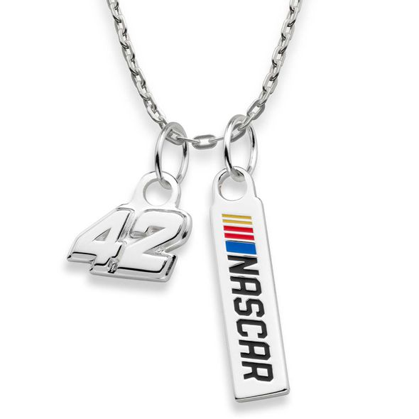 Kyle Larson #42 Sterling Silver Necklace with Two Charms - Image 2