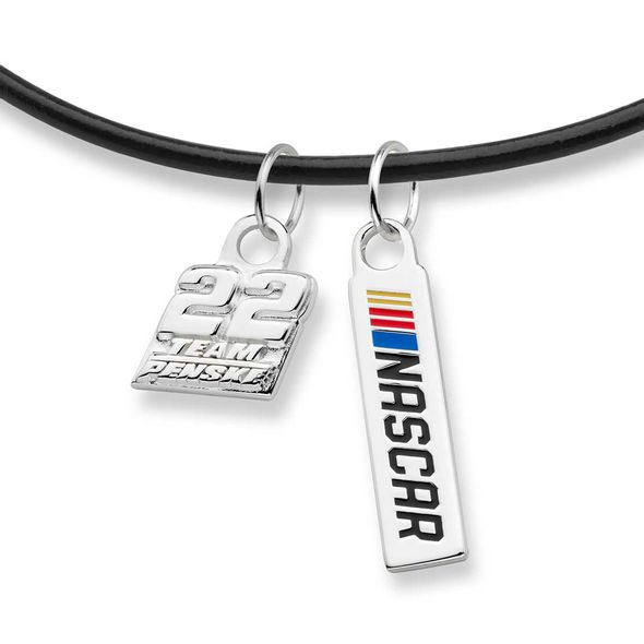 Joey Logano Leather Necklace with Two Charms - Image 2
