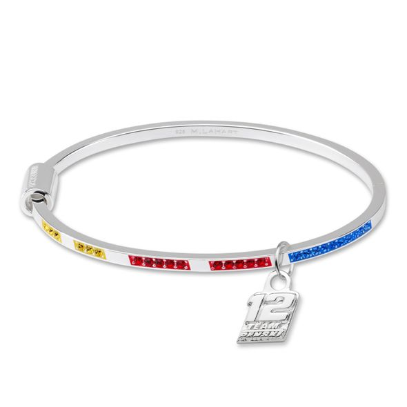 Ryan Blaney Sterling Silver Bangle with #12 Charm