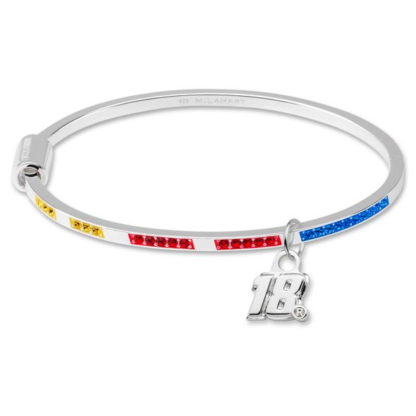 Kyle Busch Sterling Silver Bangle with #18 Charm