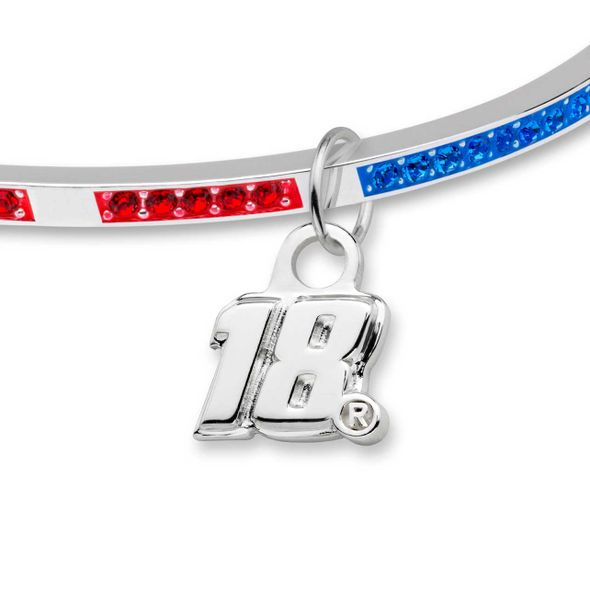 Kyle Busch Sterling Silver Bangle with #18 Charm - Image 2