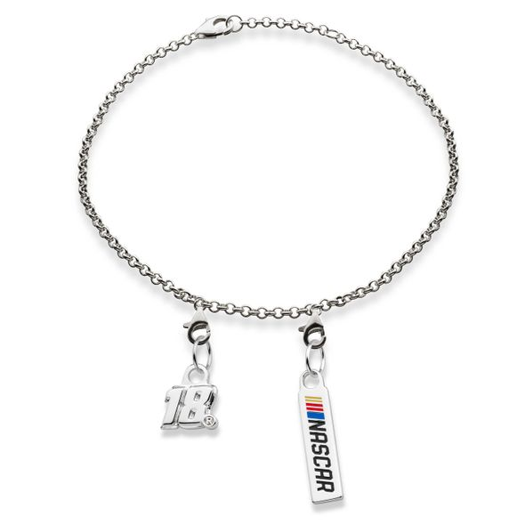 Kyle Busch #18 Sterling Silver Bracelet with Two Charms
