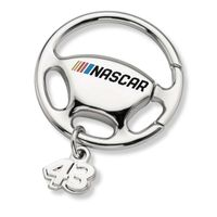 Bubba Wallace Steering Wheel Key Ring with #43 Charm