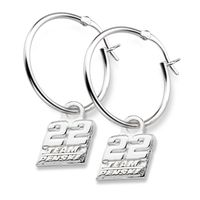 Joey Logano Sterling Silver Hoop Earrings with #22 Charm