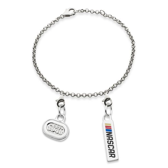 NASCAR Sterling Silver Anklet with Two Charms