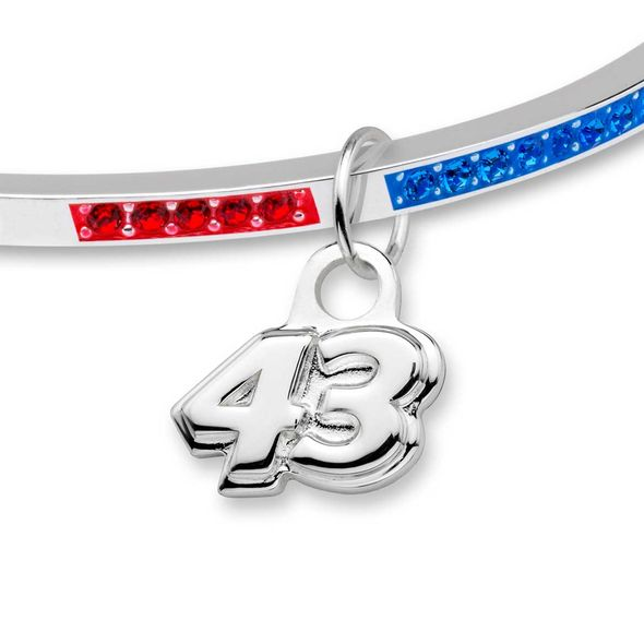 Bubba Wallace Sterling Silver Bangle with #43 Charm - Image 2