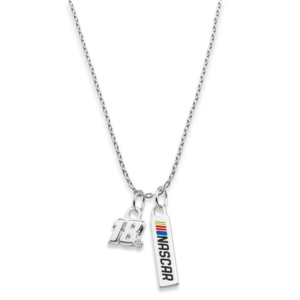 Kyle Busch #18 Sterling Silver Necklace with Two Charms