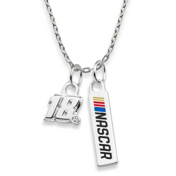 Kyle Busch #18 Sterling Silver Necklace with Two Charms - Image 2