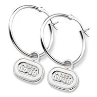 NASCAR Sterling Silver Hoop Earrings with EST.1948 Charm