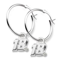 Kyle Busch Sterling Silver Hoop Earrings with #18 Charm