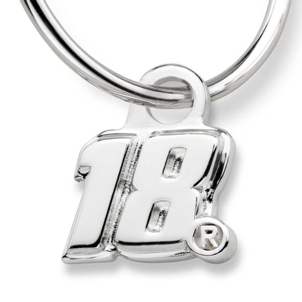 Kyle Busch Sterling Silver Hoop Earrings with #18 Charm - Image 2