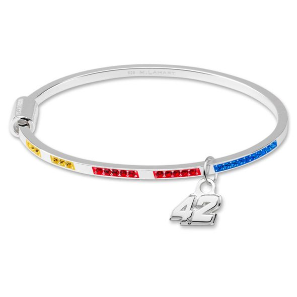 Kyle Larson Sterling Silver Bangle with #42 Charm