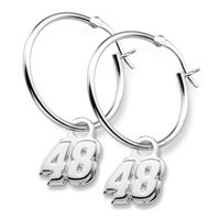 Alex Bowman Sterling Silver Hoop Earrings with #48 Charm