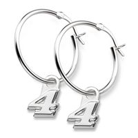 Kevin Harvick Sterling Silver Hoop Earrings with #4 Charm
