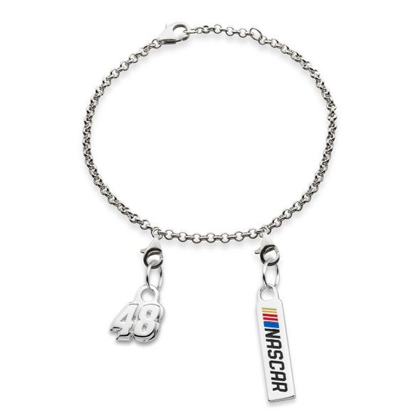 Jimmie Johnson #48 Sterling Silver Anklet with Two Charms