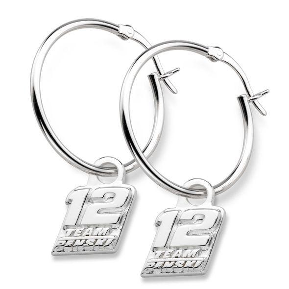 Ryan Blaney Sterling Silver Hoop Earrings with #12 Charm