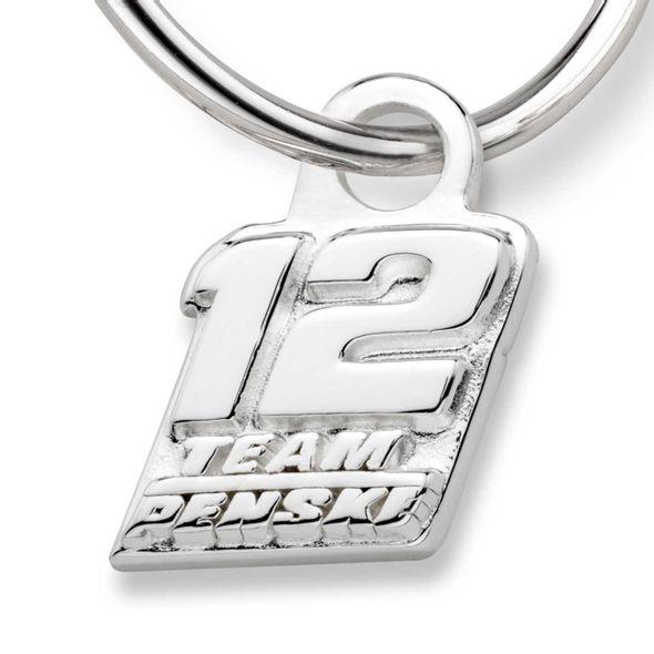 Ryan Blaney Sterling Silver Hoop Earrings with #12 Charm - Image 2