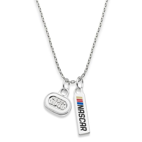 NASCAR Sterling Silver Necklace with Two Charms