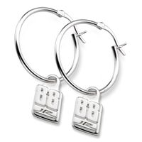 Dale Earnhardt Jr. Sterling Silver Hoop Earrings with #88 Charm