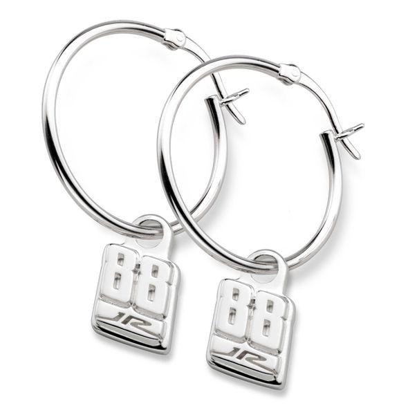 Dale Earnhardt Jr. Sterling Silver Hoop Earrings with #88 Charm