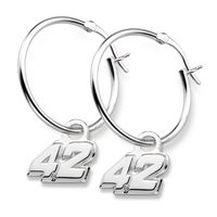 Ross Chastain Sterling Silver Hoop Earrings with #42 Charm