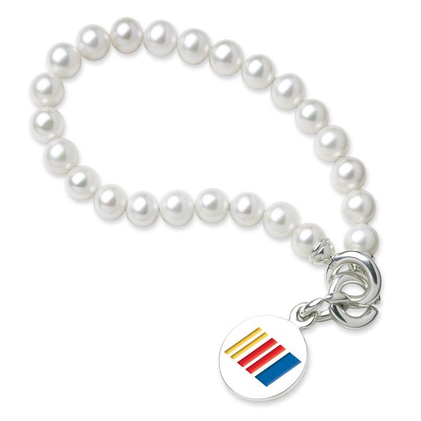 NASCAR Pearl Bracelet and Sterling Silver Charm with Enamel