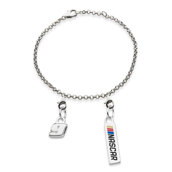 Chase Elliott #9 Sterling Silver Anklet with Two Charms
