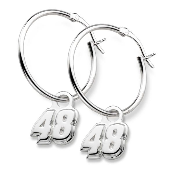 Jimmie Johnson Sterling Silver Hoop Earrings with #48 Charm