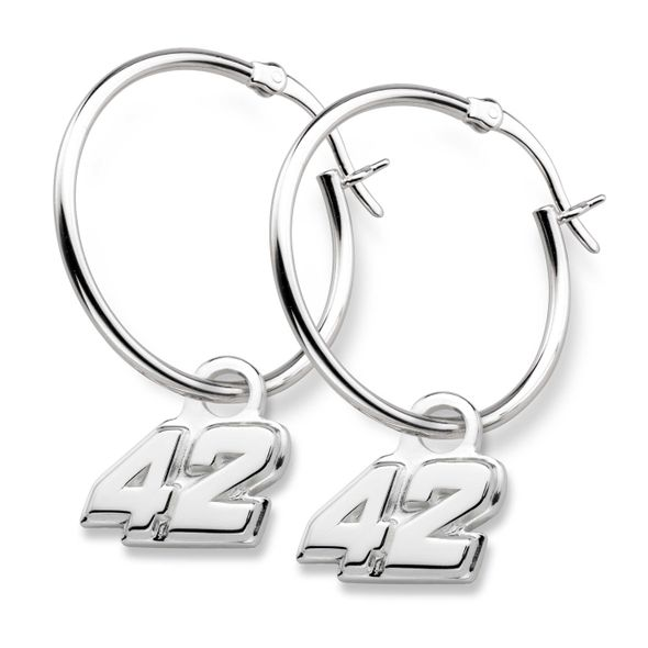 Kyle Larson Sterling Silver Hoop Earrings with #42 Charm