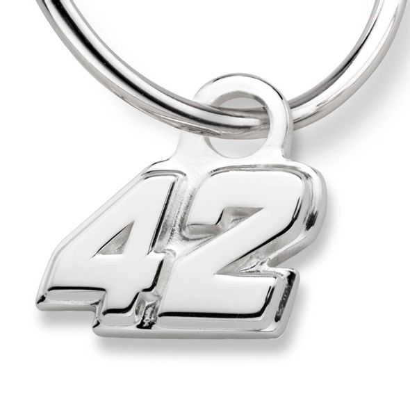 Kyle Larson Sterling Silver Hoop Earrings with #42 Charm - Image 2