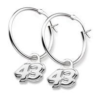 Erik Jones Sterling Silver Hoop Earrings with #43 Charm
