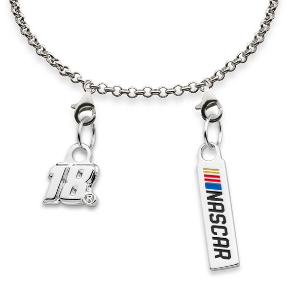 Kyle Busch #18 Sterling Silver Anklet with Two Charms - Image 2