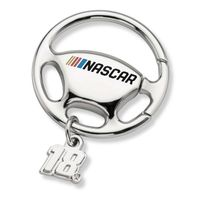 Kyle Busch Steering Wheel Key Ring with #18 Charm