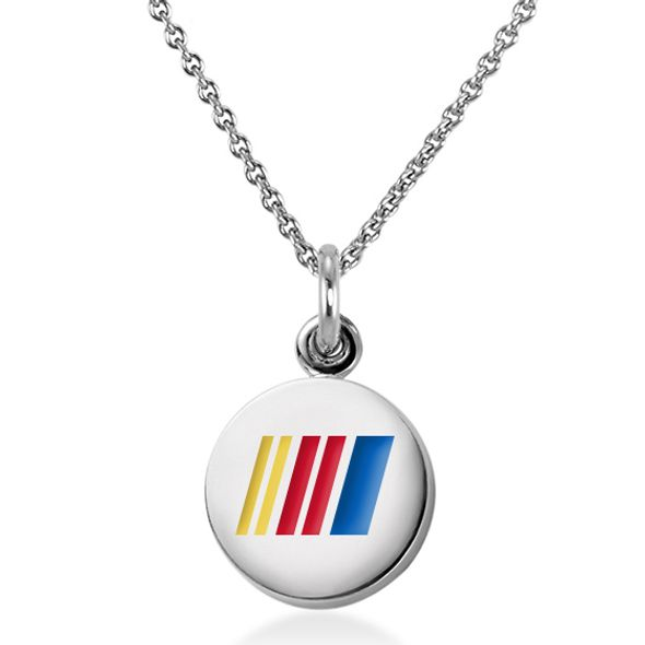 NASCAR Sterling Silver Necklace and Charm with Enamel