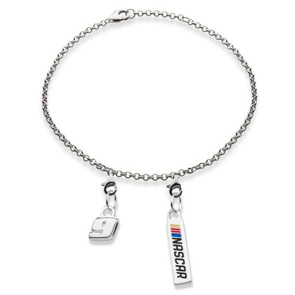 Chase Elliott #9 Sterling Silver Bracelet with Two Charms